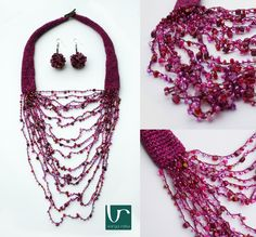 Crocheted textile necklace with a décolleté filled up by richly decorated pearls and beads.  Featherlight summer wear.