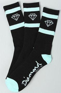 The Diamond Hi Og Logo Socks in Black & Diamond Blue by Diamond Supply Co.
