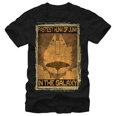 Fastest Junk - Make the Kessel Run in less than 12 parsecs with the Star Wars Fastest Hunk of Junk Black T-Shirt. Cloud City and the Millennium Falcon are on this awesome Star Wars t-shirt with Han Solos line: Fastest Hunk of Junk in the Galaxy around them.
