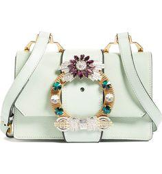 Miu Miu Jewel Buckle Calfskin Leather Shoulder Bag