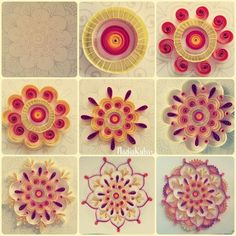 Mandala 1 Quilling Quilling Flowers Tutorial, Quilling Patterns, Quilling Designs, Neli Quilling, Quilling Cards, Toilet Paper Roll Art, Rolled Paper Art, Origami, Scrapbooking Quilling