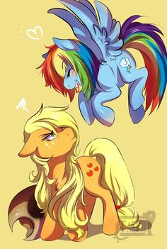 Trolling Rainbow Dash. XD I have to say though that AJ looks good with her hair down like that.