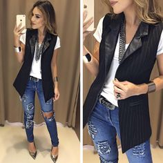 20 Tips for Who Want To Wear Business Casual Jeans Women Vest Outfits For Women, Blazer Outfits, Chic Outfits, Trendy Outfits, Fall Outfits, Fashion Outfits, Sleeveless Blazer Outfit, Sleeveless Jacket, Clothes For Women