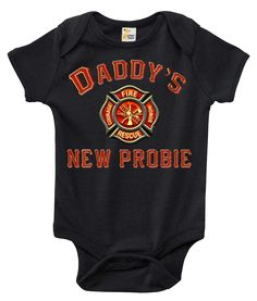 The Firefighter Baby Onesie That Wins The Hearts of All. Out with the boring bodysuit! Rapunzie onesies feature witty and charming sayings and illustrations to bring out the fun in your baby's wardrob Firefighter Baby Showers, Firefighter Wedding, Firefighter Humor, Baby Onesie, Baby Shirts, Baby Bodysuit, Onesies, Baby Boy Outfits, Firefighting