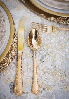Gold Flatware | More Inspiration on SMP - http://www.StyleMePretty.com/california-weddings/orange-county/2014/01/23/downton-abbey-wedding-inspiration-at-the-french-estate/ True Bliss Photography