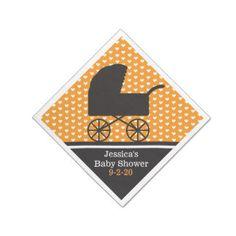Chic Orange Pram Baby Shower Paper Napkins