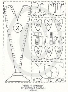 Love 'N Stitches primitive stitchery by chestnutjunction on Etsy, $1.99