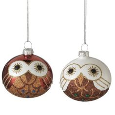 Glass Ball Owl Christmas Ornaments (Set of 2 Assorted) Christmas Owls, Christmas Ornament Sets, Xmas, Painted Rock Animals, Painted Rocks, Hand Painted Ornaments, Glass Ornaments, Golf Ball Crafts, Owl Ornament