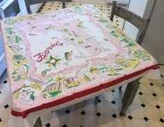 Vintage Souvenir Tablecloth Fab 50's Florida by unclebunkstrunk