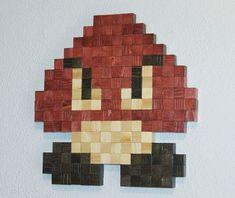 Super Mario Goomba Wooden Pixel Wall Art by NinjaProduction, $60.00