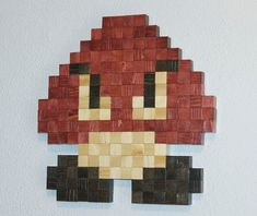 Super Mario Goomba Wooden Pixel Wall Art by NinjaProduction, $60.00