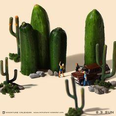 """. 8.3 sun """"Cactus"""" . 日曜だからってサボッテンじゃないよ . #このあとおいしくいただきました #きゅうり"""