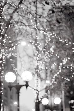 City Lights Photography - Urban Winter Holiday Scene, Fine Art Photograph of Seattle, Washington, Wall Decor