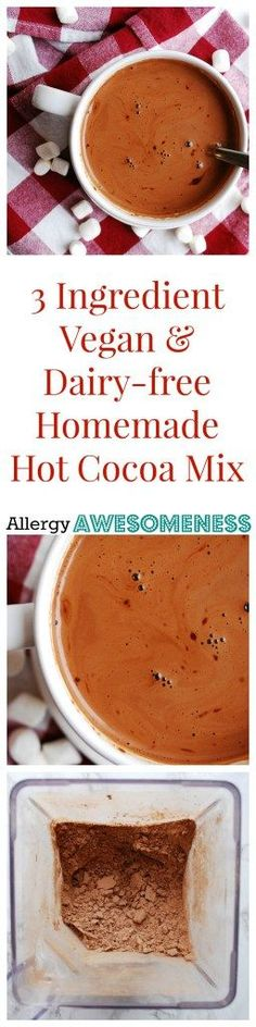 Dairy-free and Vegan Homemade Hot Cocoa Mix (Gluten, dairy, egg, soy, peanut & tree nut free; top 8 free) by AllergyAwesomenes. Dairy Free Hot Chocolate, Homemade Hot Chocolate, Hot Cocoa Mixes, Peanut Tree, Sans Gluten, Gluten Free, Lactose Free, Allergy Free Recipes, Food Allergies