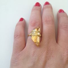 THE GOLDEN HOUR  gold orange raw crystal ring  by theFAINTofHEART