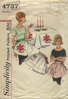 Vintage Apron Sewing Pattern | Simplicity 4737 | Year 196? | One Size