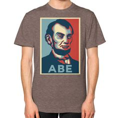 """""""ABE LINCOLN """"HOPE"""" DESIGN"""" UNISEX T-SHIRT (Color : Tri-Blend Coffee) - By Gordons Wear"""