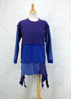 Blue Upcycled Sweatshirt,Plus Size 1X,Womans  16 18 Clothing,Purple Top,Color Blocked Tunic,Boho Clothing,by Repurposed Couture by RepurposeCouture on Etsy
