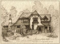 """Portrait and plan of an original design for a classic storybook-style cottage. Typical features of storybook style include """"catslide"""" roofs (roof extended very low to ground, curved and exaggerated..."""