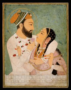 """A Prince with his Beloved"" India, Amber or Jaipur; 1st half of 18th century. Miniature pasted on cardboard.  Leaf: 24.5 × 18.9 cm"