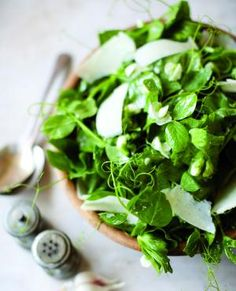 Pea shoot salad with shaved parm & lemon vinaigrette: Just made it (plus some halved grape tomatoes) and it was deeelicious! Pea Shoot Recipe, Vegetarian Recipes, Healthy Recipes, Lemon Vinaigrette, Spring Recipes, Holiday Recipes, Pinterest Recipes, Cookbook Recipes, Food Inspiration