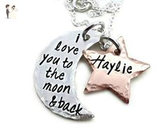 A Beautiful Personalized I Love You To The Moon and Back Necklace - Rustic Hammered Sterling Silver Copper Moon and Stars - Personalized Necklace - Hand Stamped Jewelry - Wedding nacklaces (*Amazon Partner-Link)