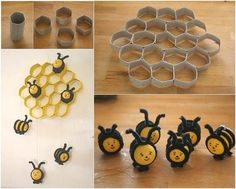 How to DIY Lovely Beehive and Bees Decoration from Toilet Paper Rolls | iCreativeIdeas.com Like Us on Facebook ==> https://www.facebook.com/icreativeideas