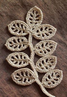 """Crochet branch w/ leaves applique - Outstanding Crochet: Patterns Branch pattern/tutorial - My siteOutstanding Crochet: Patternss This would make a beautiful embellishment for a crazy quilt!motleycraft-o-rama: """" From Outstanding Crochet. Crochet Diy, Beau Crochet, Love Crochet, Crochet Crafts, Yarn Crafts, Crochet Projects, Crochet Tree, Irish Crochet Tutorial, Simply Crochet"""