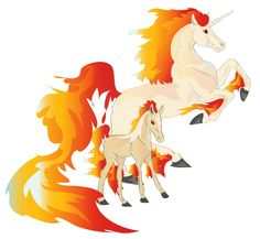 Rapidash and Ponyta foal by Iolandria.deviantart.com on @deviantART