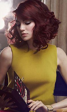 L'Oréal Professionnel - Retro Nouveau -  Ciro Cerella & Giuseppe deep red auburn burgundy hair bob bobbed asymmetrical