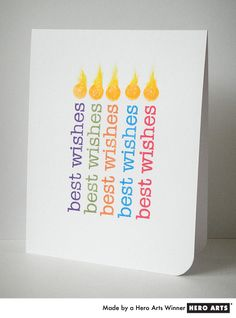 Card by Donna Mikasa - Using a message stamp as a birthday candle #HeroArts