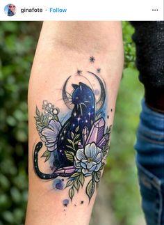Leg Tattoos, Cute Tattoos, Beautiful Tattoos, Flower Tattoos, Body Art Tattoos, Cute Cat Tattoo, Sweet Tattoos, Cat Tattoo Designs, Design Tattoos