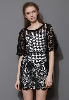 When the Night Comes Floral Crochet Dress