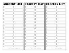 blank grocery lists