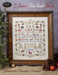 This Patriotic Canadian themed sampler is stitched on 32 ct Lakeside Linen  Lentil – but can certainly be done on your favouritefabric and count. I  would love to see it on 40ct!! It uses Gloriana Threads, The Thread  Gatherer, Splendor and Needlepoint Inc silks with a little pinecone button  fr