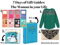 7 Days Of Gift Guides Day 6: 5 gifts for less than $50 for the women in your life: http://blissfullybrunette.com/?p=5348
