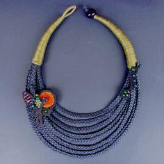 OOAKStatement Fiber Necklace Braided Necklace by superlittlecute