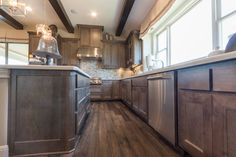 Kitchen with TaylorCraft's mitered cabinet doors in Select Hard Maple with gray stain Brown Cabinets, Maple Cabinets, Grey Kitchen Cabinets, Add A Bathroom, Add A Room, Basement Layout, Staining Cabinets, A Frame Cabin, Grey Stain