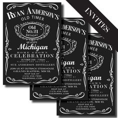 Jack Daniels Label Printable Birthday by LeslieMarieDesigns...or bachelor/ette party invites