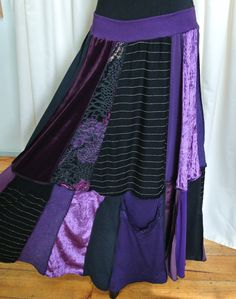 Fabulous long purple boho hippie gypsy patchwork skirt called, 'Midnight''.