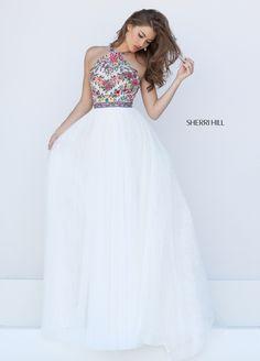 Sherri Hill Prom Spring 2016 # 50343 www.thecastlepromandbridal.com ivory white