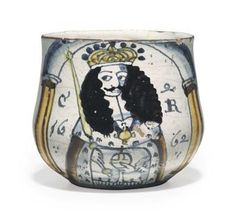 c1660. An London delft dated portrait caudle cup of Charles II dated 1662. Estimate: $80,000-120,000. Photo: Christie's Images Ltd., 2010