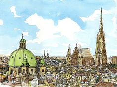 Vienna Austria art print from an original watercolor painting