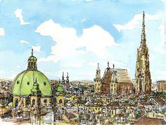 Impresión de un acuarela original de arte de Austria Viena