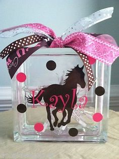 Personalized Horse Glass Block Light by LuLuBeanDesignCo. Chandler Another creative idea for you to play around with in your mind- I love that galloping horse decal/sticker! If I ever have kids who love horses like their mama I'm doing this Painted Glass Blocks, Decorative Glass Blocks, Lighted Glass Blocks, Vinyl Crafts, Vinyl Projects, Diy And Crafts, Craft Projects, Crafts For Kids, Yarn Crafts
