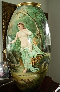 Incredible Belleek Nude Portrait Vase Signed Limoges Artist A. Heidrich