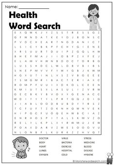 Check out this fun free Health Word Search, free for use at home or in school Th. Word Puzzles For Kids, Word Search Puzzles, Worksheets For Kids, Tracing Worksheets, The Words, Cool Words, 3rd Grade Words, Free Printable Word Searches, Parts Of A Book
