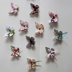 paper butterflies with clip or magnet (please, tell us your choice in the notes). price refers to 10 butterflies. three layers of fantasy paper. price refers to 10 butterflies. you can choose colours but not pattern (it depends on available papers). you can chose even 10 different colours in