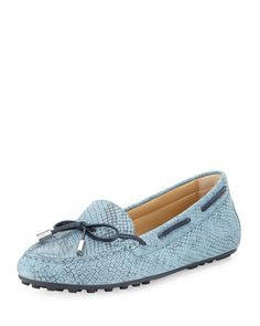 Daisy+Python-Embossed+Moccasin,+Denim+by+MICHAEL+Michael+Kors+at+Neiman+Marcus.