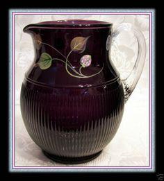 Fenton Aubergine Ribbed Pitcher :: Fenton Art Glass
